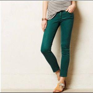 AG Stevie Ankle Slim Straight Leg Green Jeans 27